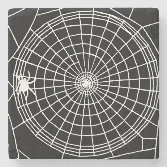 Square Spider Web, Scary Halloween Design Stone Beverage Coaster