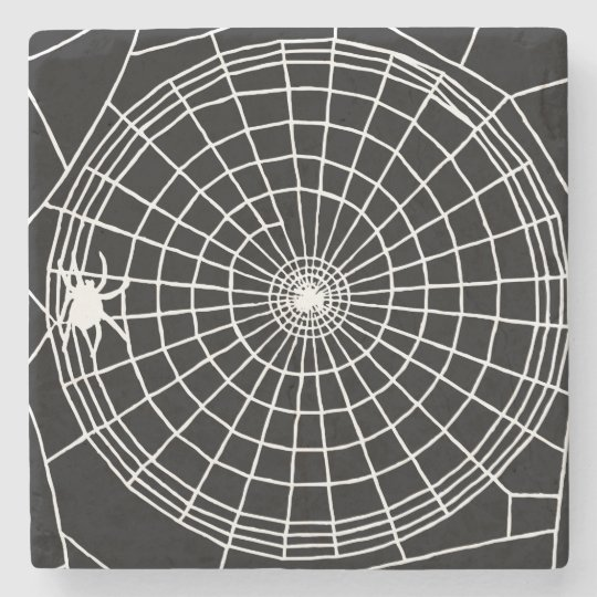 Square Spider Web, Scary Halloween Design Stone Coaster