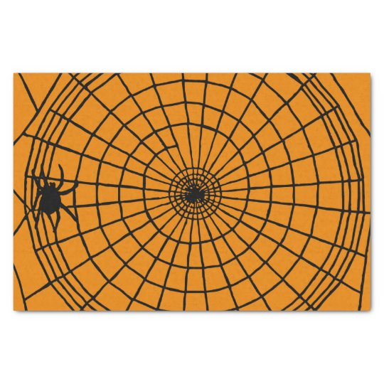 Square Spider Web, Scary Halloween Design Tissue Paper