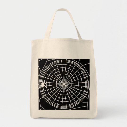 Square Spider Web, Scary Halloween Design Tote Bag