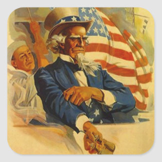 Square Sticker Uncle Sam USA Navy Ship 4th of July