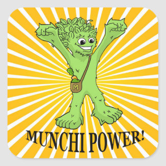 Square Stickers, Glossy Munchi Power! ENERGY RAYS Square Sticker