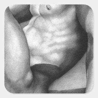 SQUARE STICKERS Square Sticker Fine Art Nude-male