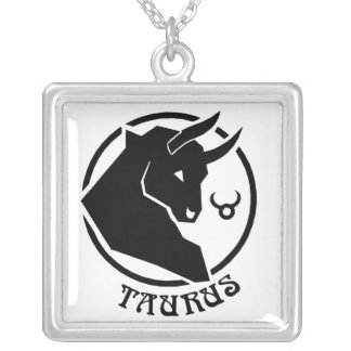Square Taurus Zodiac Sign Silver Plated Necklace