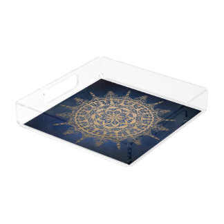 Square Tray Blue Golden Mandala Design