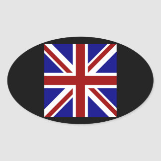 Square Union Jack Oval Sticker