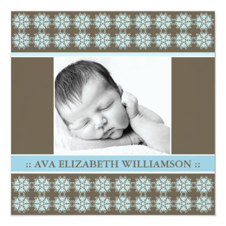 Square Victorian Blue Birth Announcement
