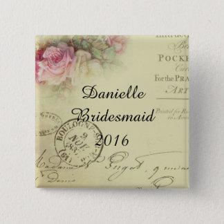 Square Vintage Floral Bridesmaid Button