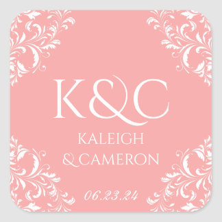 Square Vintage Wedding Label -Nadine (Editable)