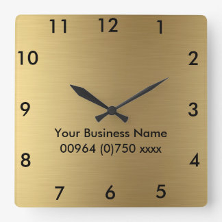 Square Wall Clock Gold Color - For Business promot