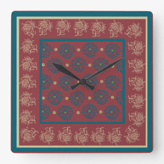 Square Wall Clock, Maroon, Blue Floral Square Wall Clock
