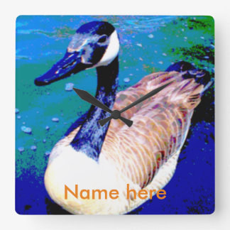 Square wall clock. Swimming goose, personalize. Wall Clock