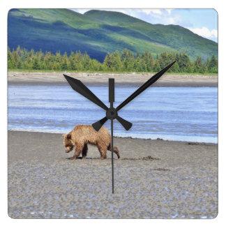Square Wall Clock w/ grizzly bear cub