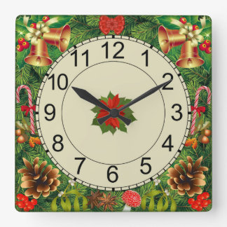 Square wall clock with Christmas motif