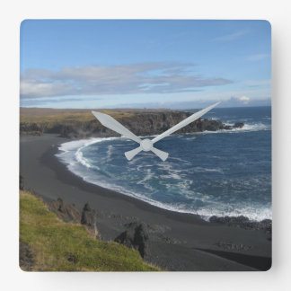 Square Wall Clock with Icelandic Beach