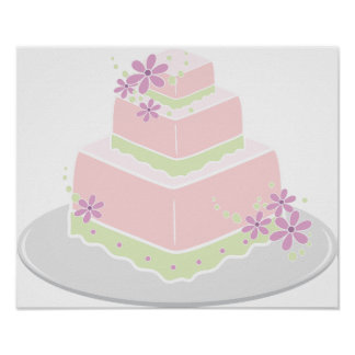 Square Wedding Cake Poster