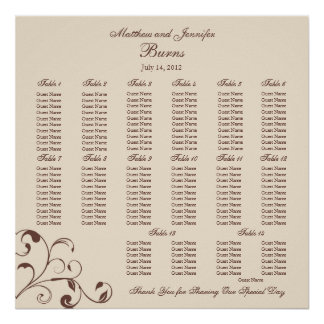 Square Wedding Reception Seating Chart Poster