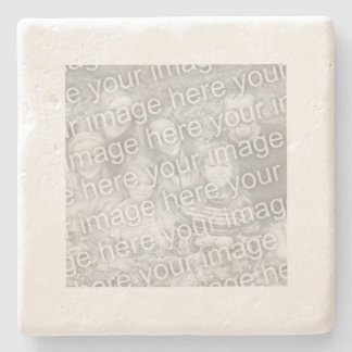 Square White Border Photo Stone Beverage Coaster