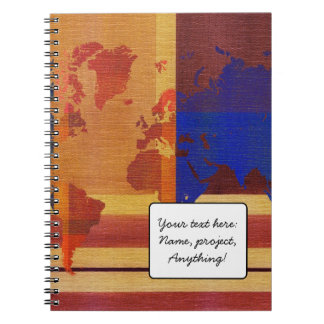 Square With Lines World Map Notebook