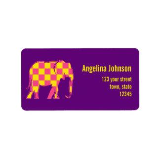 Square Yellow Pink Pattern Elephant Female Purple