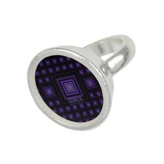 Squareception (Square Pattern) Purple Photo Ring