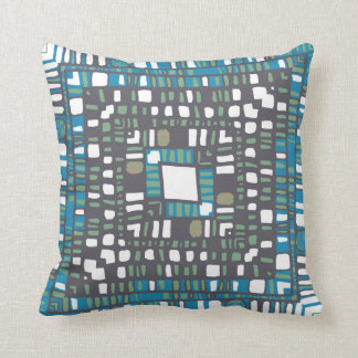 Squared layers in orange and blue throw pillow