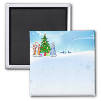 "Squared magnet ""Papa and Mother Noel """