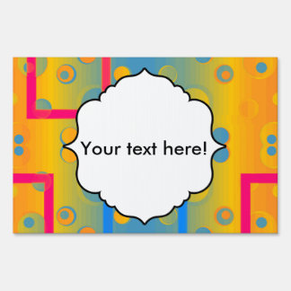 Squares and circles abstract design sign