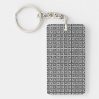 Squares and Lines Black and White Keychain