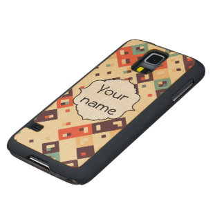 Squares in retro colors abstract design carved maple galaxy s5 case
