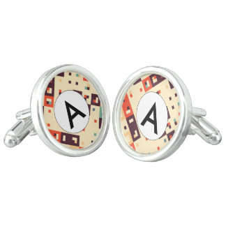Squares in retro colors abstract design cufflinks