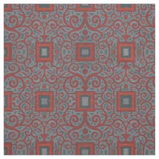 Squares & Lace, arabesque pattern, gray terracotta Fabric