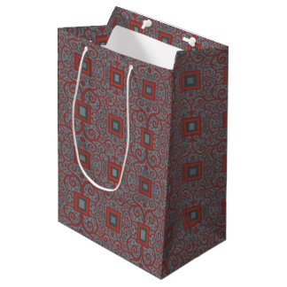 Squares & Lace, arabesque pattern, gray terracotta Medium Gift Bag