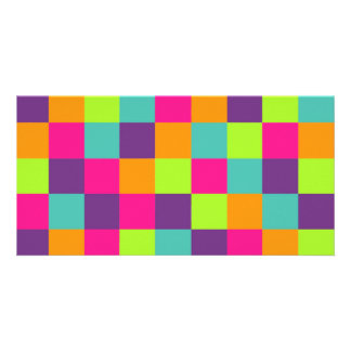 Squares Pattern Customized Photo Card