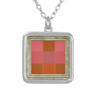 Squares Pattern Silver Plated Necklace