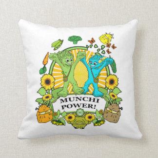 squareThrow Pillow  Munchi Power! - Mrs. Munchi