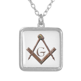 squarncomp3d silver plated necklace