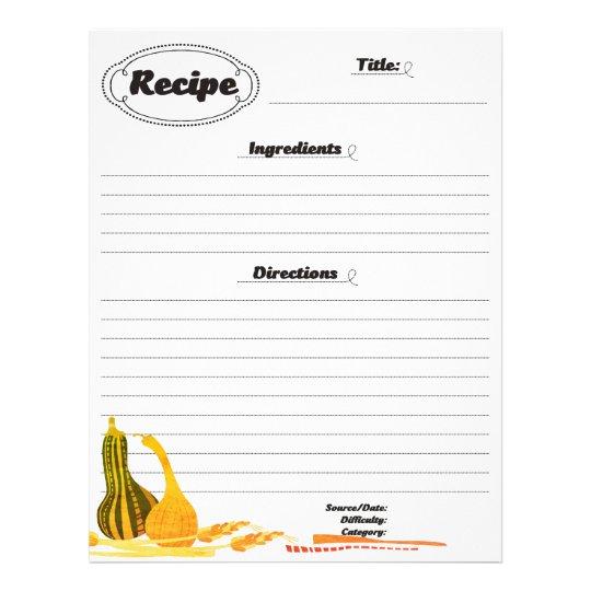 Squash wheat autumn side dish recipe letterhead