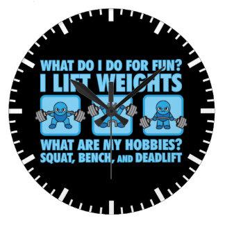 Squat, Bench Press, Deadlift - Hobbies - Kawaii Large Clock