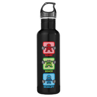 Squat, Bench Press, Deadlift - Kawaii Powerlifter 710 Ml Water Bottle