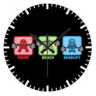 Squat, Bench Press, Deadlift - Kawaii Powerlifter Large Clock