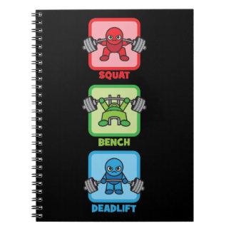 Squat, Bench Press, Deadlift - Kawaii Powerlifter Notebook
