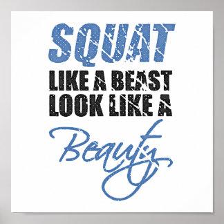Squat Like A Beast Look Like A Beauty | Retro Poster