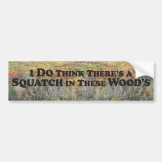 Squatch in Woods Black w/Forest - Bumper Sticker