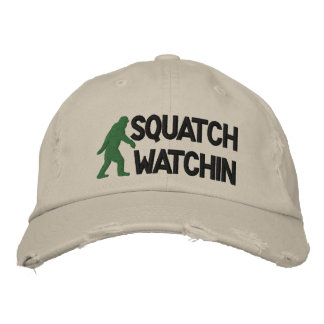 Squatch watchin embroidered baseball cap