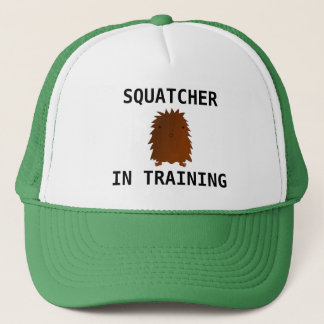 Squatcher in training baby bigfoot trucker hat