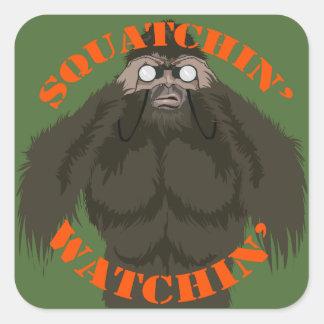 Squatchin' Watchin' Bigfoot Love Square Sticker
