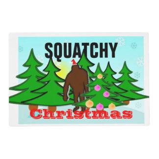 Squatchy Christmas Bigfoot Tacky Christmas Laminated Placemat