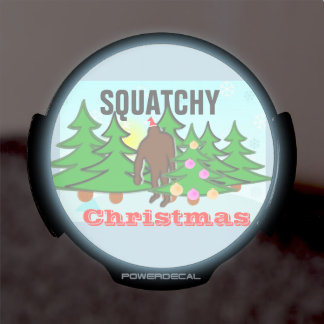 Squatchy Christmas Bigfoot Tacky Christmas LED Auto Decal