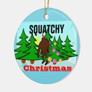 Squatchy Christmas Sasquatch Tacky Christmas Ceramic Ornament